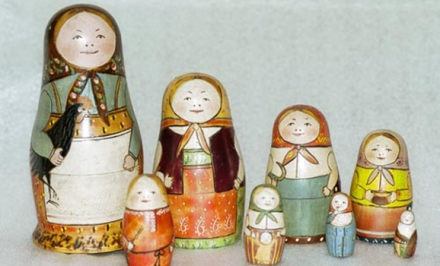 The original matryoshka doll set from 1892, carved by Vasily Zvyozdochkin using a design by Sergey Malyutin, as seen in the year 2000. (photo by Sergiev Posad Museum of Toys, Russia)