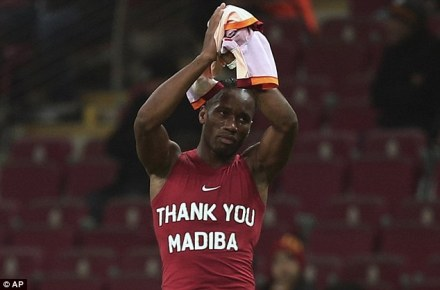 Didier Drogba wearing a vest paying respect to Nelson Mandela after Galatasaray played Elazigspor (AP)